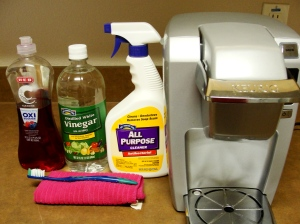 dish soap, all purpose cleaner, microfiber towel, toothbrush, and of course - our Keurig!